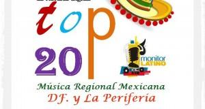 TOP 20 de la Música Popular en el DF y la Periferia por Monitor Latino del 18 al 24 de Enero de 2016