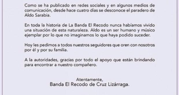 Comunicado oficial de El Recodo sobre la desaparición de uno de sus integrantes
