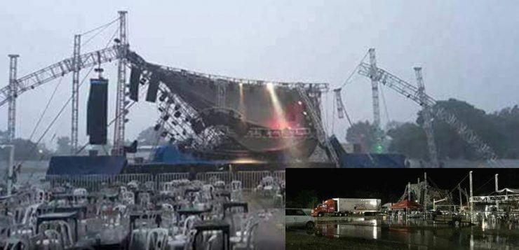Fuerte lluvia derriba escenario de Junior Klan