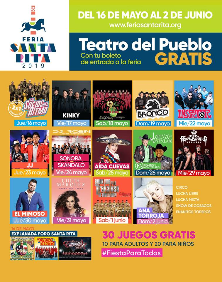 Feria Santa Rita 2019, Cartelera Oficial