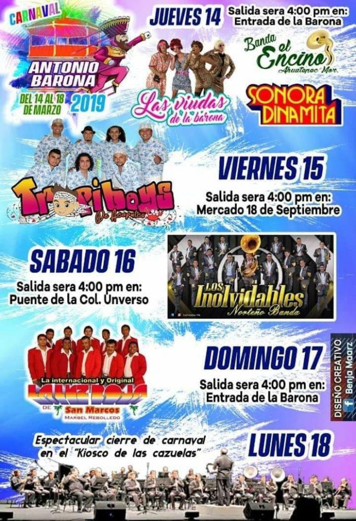 Carnaval Antonio Barona 2019, Cartelera Oficial