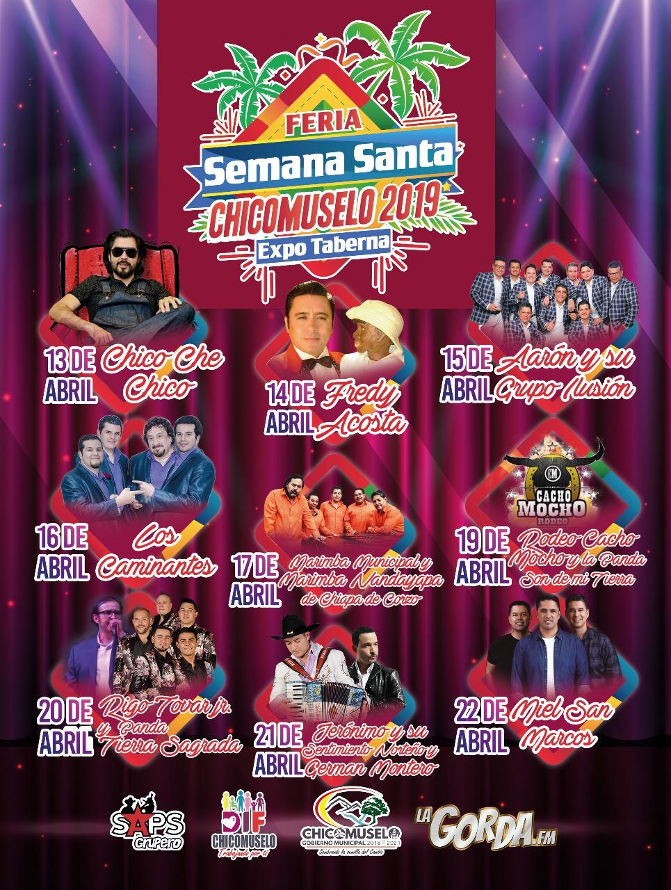 Feria Semana Santa Chicomuselo 2019, Cartelera Oficial