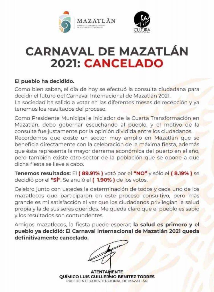 Carnaval Mazatlán 2021 se cancela